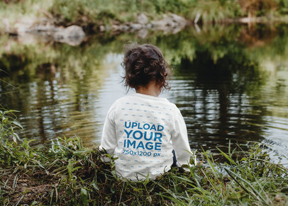Long Sleeve Tee Mockup of a Little Kid Sitting By a Pond 45310-r-el2