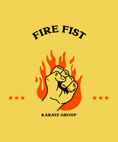 Karate T-Shirt Design Template with a Graphic of a Fist on Fire 3203c