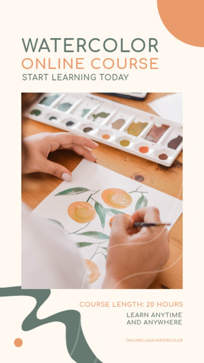 Instagram Story Design Generator for a Watercolor Painting Online Course 3238b-el1