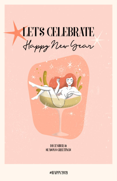Flyer Design Maker for a New Year's Eve Celebration Featuring a Retro Illustration 3201h