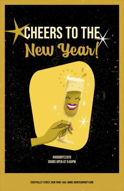 Illustrated Flyer Design Template for a New Year Celebration Featuring a Champagne Glass 3201f