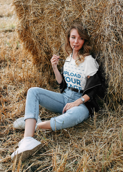 T-Shirt Mockup of a Woman Posing Hanging out in a Straw Field 45327-r-el2