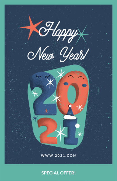 Online Flyer Maker with an Illustration Wishing a Happy New Year  3201b
