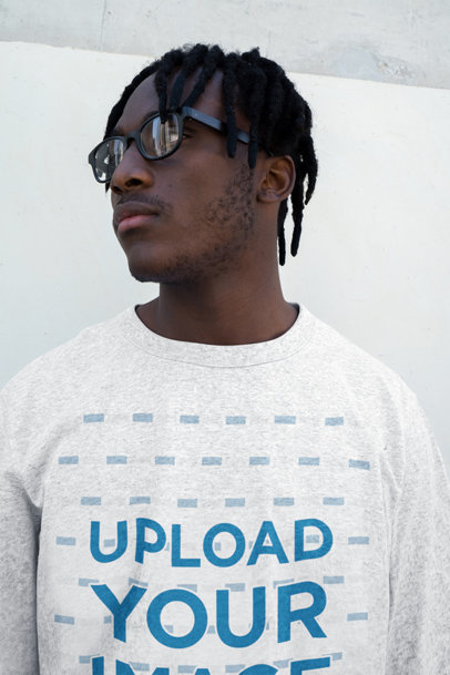 Heather Sweatshirt Mockup of a Man with Locs and Glasses 45274-r-el2