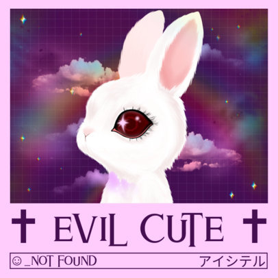 Punk Album Cover Creator Featuring a Pastel Goth-Style Bunny 3206c