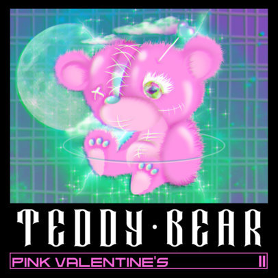 Album Cover Template for a Punk Band with a Sad Teddy Bear Graphic 3206a