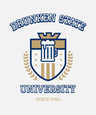 Sarcasm T-Shirt Design Maker Featuring an Emblem with a Beer 3209b