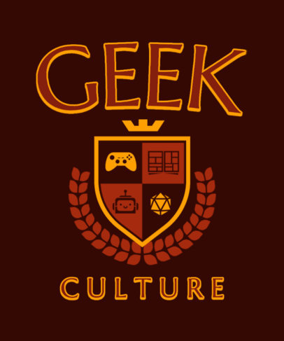 T-Shirt Design Template for Geeks Featuring a University Emblem 3209c