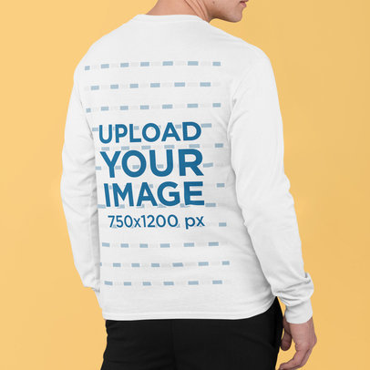 Back View Mockup of a Man With a Long Sleeve Tee m832