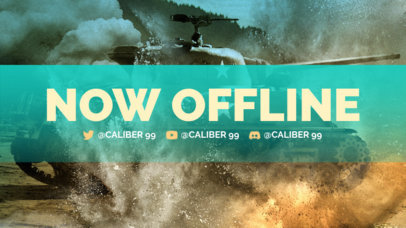 War-Themed Twitch Offline Banner Maker Featuring a Tank in Action 3224e