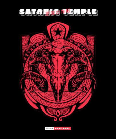 Horror T-Shirt Design Maker Featuring a Goat Skull Graphic 3290a-el1