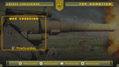 Twitch Overlay Design Template Featuring a Graphic of a War Tank Shooting 3225g