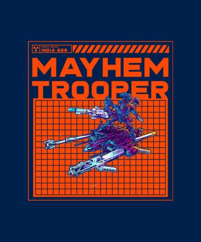Illustrated T-Shirt Design Creator Featuring a Mecha Unit 3282g-el1