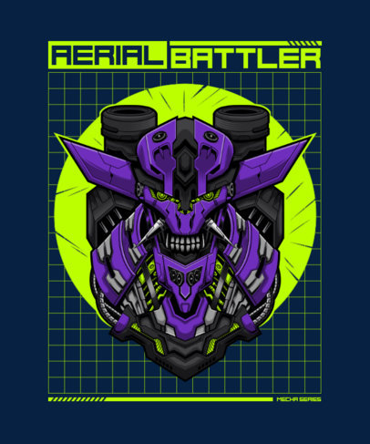 T-Shirt Design Template for a Gamer Featuring a Mecha 3288a-el1