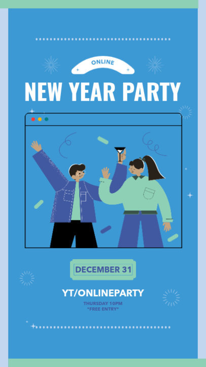 Instagram Story Maker for a New Year's Eve Party Featuring a Festive Illustration 3260d-el1