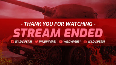 Twitch Stream Ended Overlay Maker Featuring a War Tank Graphic 3224f