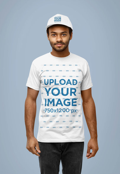 Dad Hat and T-Shirt Mockup of a Man Posing at a Studio 40124-r-el2