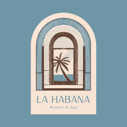 Logo Template for Beach Resorts Featuring a Palm Tree Illustration 3910a