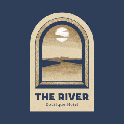 Boutique Hotel Logo Template Featuring a River Illustration 3910d