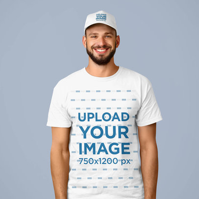 Mockup of a Smiling Man Wearing a Dad Hat and a Tee at a Studio 39350-r-el2
