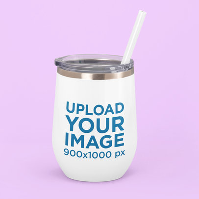Wine Tumbler Mockup Featuring a Customizable Background M230