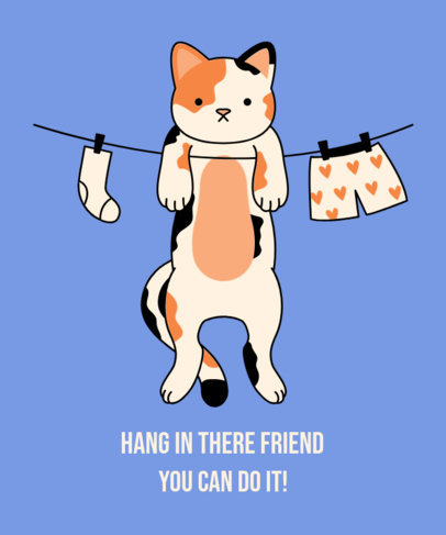 Illustrated T-Shirt Design Maker Featuring a Cat Hanging Next to Underwear 3243d