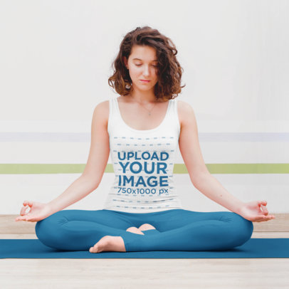 Tank Top Mockup of a Curly-Haired Woman Meditating 45624-r-el2