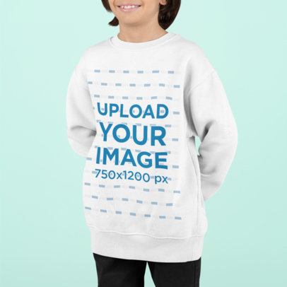 Sweatshirt Mockup of a Smiling Boy in a Studio M865