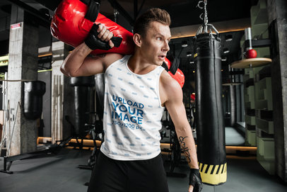Tank Top Mockup of a Man Training in a Boxing Gym 41198-r-el2