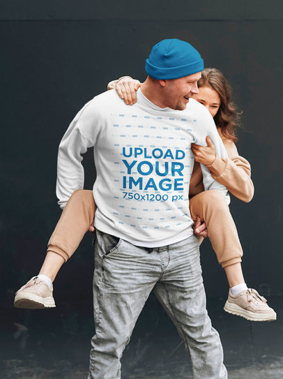 Sweatshirt Mockup Featuring a Happy Man and His Girlfriend 45608-r-el2