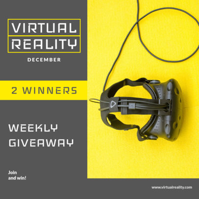 Giveaway Instagram Post Template to Announce a VR Headset 3296a-el1