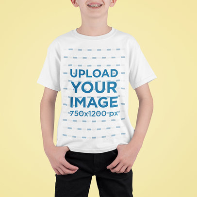 T-Shirt Mockup of a Happy Boy Standing in a Studio m710