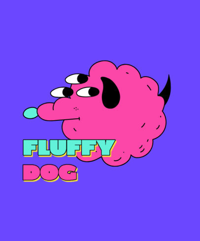 Silly T-Shirt Design Template Featuring a Fluffy Three-Eyed Dog 3240c