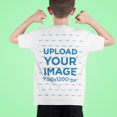 Mockup of a Boy in a Studio Showing the Back of His T-Shirt m712