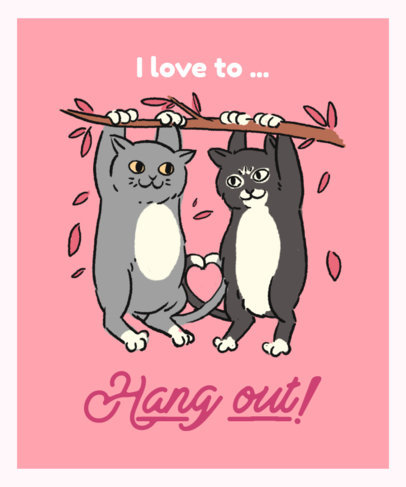 T-Shirt Design Template Featuring Two Cats Hanging Out 3245c