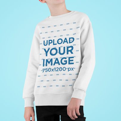 Cropped Face Mockup of a Boy Wearing a Sweatshirt m718