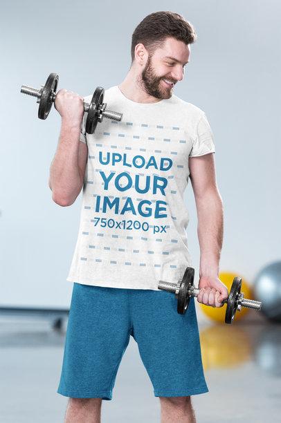 T-Shirt Mockup of a Bearded Man Doing Bicep Curls 45808-r-el2
