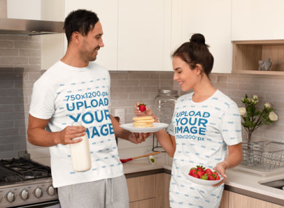 T-Shirt and Night Dress Mockup of a Young in Their PJs Having Breakfast m773