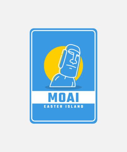 T-Shirt Design Maker Featuring an Iconic Moai Head 3331b-el1