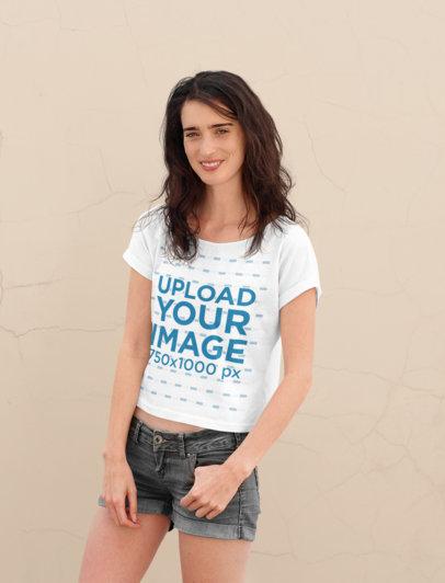 Mockup of a Chill Woman Wearing a T-Shirt 45230-r-el2