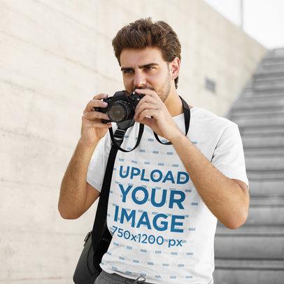 T-Shirt Mockup Featuring a Photographer 45354-r-el2