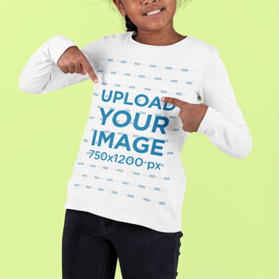 Cropped Face Mockup of a Girl Pointing at Her Long-Sleeve Tee m881