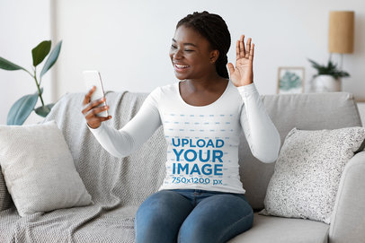 Long Sleeve Tee Mockup Featuring a Woman Making a Video Call at Home 45505-r-el2