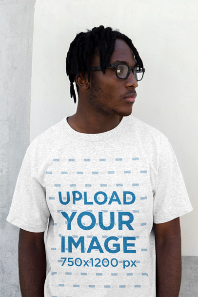 Heather T-Shirt Mockup of a Man with Glasses and Locs 45585-r-el2