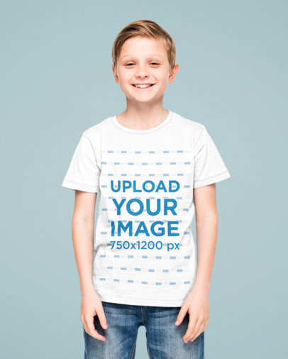 Heathered Tee Mockup Featuring a Smiling Boy 45294-r-el2