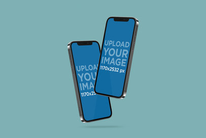 Mockup Featuring Two iPhones 12 Pro Against a Solid Color Background 5011-el1