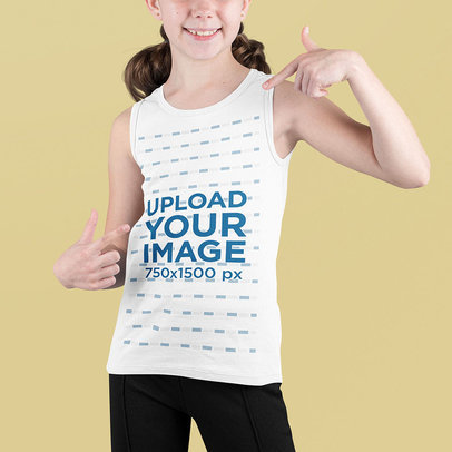 Cropped Face Mockup of a Little Girl Wearing a Tank Top m704
