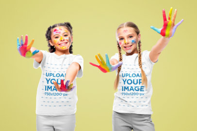 T-Shirt Mockup of Two Girls Playing with Paint 45701-r-el2