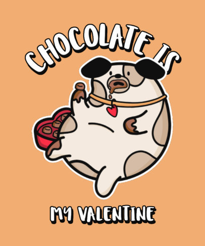 Illustrated T-Shirt Design Maker with a Chubby Dog Eating Valentine's Chocolates 3266d