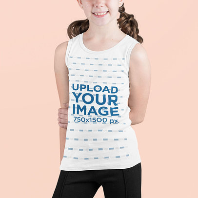 Tank Top Mockup Featuring a Smiling Girl Against a Customizable Background m705